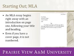 the writing center presents ppt video online starting out mla an mla essay begins right away an introduction on page one