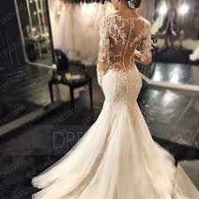 charming appliques backless mermaid wedding dress with long