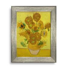 sunflower by van gogh framed art print famous painting wall decor silver frame on famous wall art prints with sunflower by van gogh framed art print famous painting wall decor