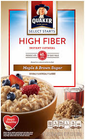 amazon pack of 4 quaker instant oatmeal high fiber select starts maple brown sugar breakfast cereal 1 58oz 8 packets per box oatmeal breakfast