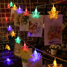 2 5m battery powered 20 led star photo clip hanging peg fairy string light for wedding diy ins decor cod