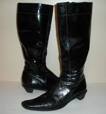 iramo black patent leather tall side zip boots size 38 eu 8 us made in italy