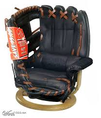 a bar room baseball glove chair or as bob uecker might say its just a bit outside with your sports themed bar room outed with this swivel lounger