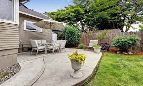 a patio slope away from house