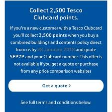 2500 clubcard points when taking out home insurance tesco bank hotukdeals