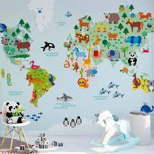 Bolcom Fotobehang Wereldkaart Vol Dieren Kinderkamer Behang