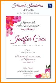 Sample Invitation Cards Burial Announcement Sample Attractive Memorial Service