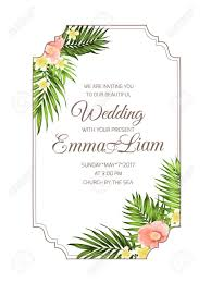 Wedding Invitation Card Template Exotic Tropical Wedding Marriage Invitation Card Template With