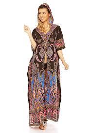 Ladies Full Length Oversized Maxi Kimono Tunic Hooded Kaftan Gown