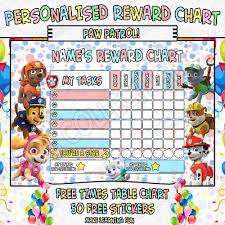 Childrens Personalised Reward Chart Chore Toilet Training Paw Patrol Ebay