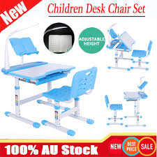 Details About Adjustable Height Kids Study Desk Table Chair Set Lamp Children Write Read Draw