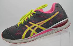 details about asics women s gel storm 2 running shoes storm flash gray yellow pink 10 m t479n
