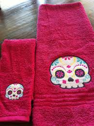 Sugar Skull Bathroom Decor Clearance Sugar Skull Bathroom Towel Set Day Of The Dead Los