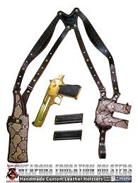 tom s exotic python vertical shoulder holster custom hand made double thick reinforced leather semi auto shoulder rig open top vertical holster
