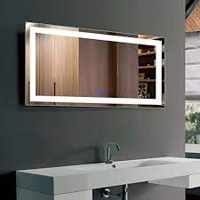 Amazon Com Dimmable Led Bathroom Mirror Antifog Wall Mounted Lighted Vanity Mirror Vertical Horizontal Mount 40x24 In Iluminated Copper Free Makeup Mirror With Lights With Touch Button Ct11 4024 Kitchen Dining