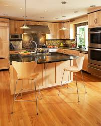 Natural Maple Kitchen Cabinets Kitchen Contemporary With Backsplash Bar  Stools Black