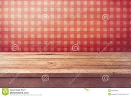 Wallpaper In Kitchen Empty Wooden Deck Table Over Checked Red Wallpaper Vintage