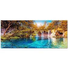 Outdoor wall decor show off your style and add the finishing touches to your landscape with unique art to suit any style, from cottage garden to classic estate. Visual Art Decor Xlarge Nature Autumn Forest Landscape Canvas Wall Art Blue Crystal Lake Scenery Painting P Scenery Paintings Landscape Canvas Forest Landscape