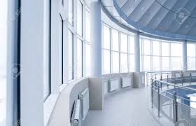 modern interior office stock. windows and columns in the rounded interior of modern office building stock 4