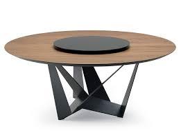 skorpio round wood table with optional lazy susan cattelan italia