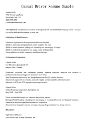 Professional Experience For Casual Delivery Driver Resume Sample