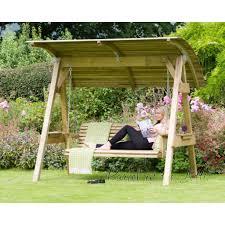 3 seat wooden garden swing loading zoom
