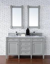Contemporary Bath Vanity Cabinets Contemporary 60 Inch Double Sink Bathroom Vanity Gray Finish No Top