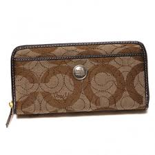 Coach In Signature Large Brown Wallets CJR