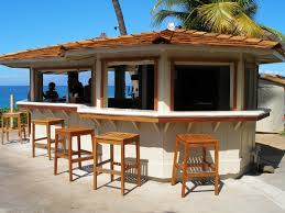 Outdoor Bar Enchanting Tropical Style Outdoor Bars With Wooden Stools As