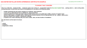 Business Operation Specialist All Other Work Experience Letters Samples