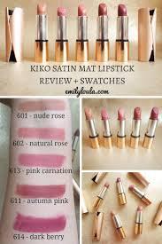 kiko velvet mat satin lipsticks full review swatches