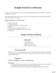 Sample Resume For Restaurant Jobs Sample Server Resume Unique Restaurant Job And Template Of 7a With