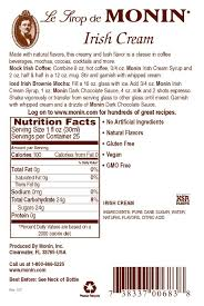 750 ml irish cream back label