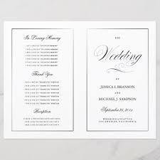 Templates For Wedding Programs Black White Elegant Wedding Program Template