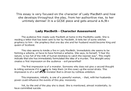 lady macbeth character assessment gcse english marked by document image preview