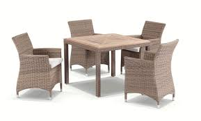 bali 4 half round wicker teak dining table with chairs setting