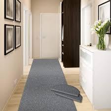 Casa Pura Teppich Läufer Ponto Für Küche Flur Und Schlafzimmer Meterware Qualität Aus Deutschland In Vielen Größen Stahlgrau 66x100