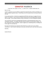 Resume Cover Letter Examples Leading Professional Legal Secretary Cover Letter Examples 47