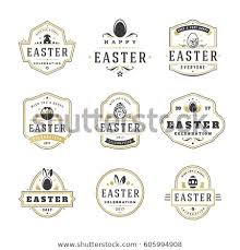 Easter Greeting Card Template Custom Easter Badges Labels Vector Design Elements Stock Vector Royalty