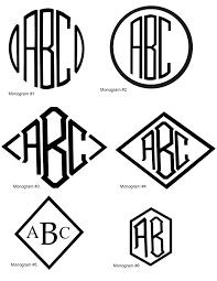 3 letter monograms like 3 letters inside a diamond or 3 letters inside a circle