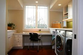 laundry office. Home Office: If Your Laundry Room Is Big Enough, You Can Create A Great Office Center For The Adult And Kids. Place To Get Computer