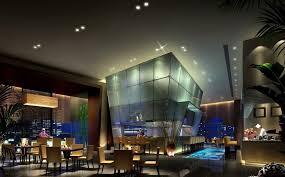 cool restaurant design with modern recessed lighting ideas