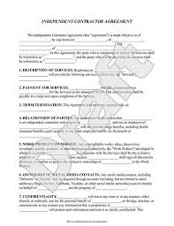 independent contract template independent contractor agreement form template with sample