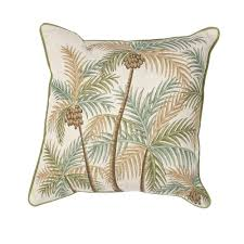 kas rugs palm tree natural green decorative pillow
