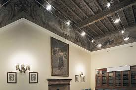 exposed lighting. cable lighting great for exposed high beamed ceilings