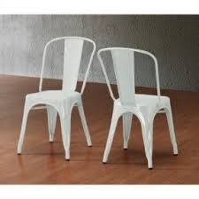 xavier pauchard french industrial dining room furniture. Set Of 2 White Xavier Pauchard Tolix A Style Chairs In Powder Coat Finish Steel Metal French Industrial Dining Room Furniture
