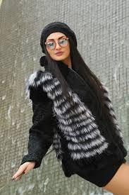 Black <b>Natural Fur Jacket</b> With <b>Fox</b> – Arabel