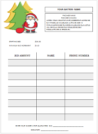 Sample Bid Sheets For Silent Auction Christmas Silent Auction Bid Sheet Silent Auction Bid Sheet