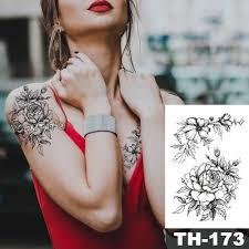 лист розы пион кружева цветок водонепроницаемый временная татуировка стикер
