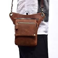 crazy horse genuine leather thigh drop leg bag motorcycle hip belt new messenger shoulder bag pack waist bags for men 2018 cute pack belt bags